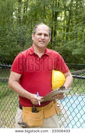 Contractor Man Writing Estimate Job