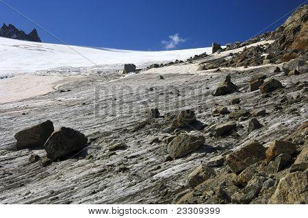 Rocks on a glacier
