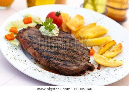 Grilled Grilled New York Strip Steak with Vegetables