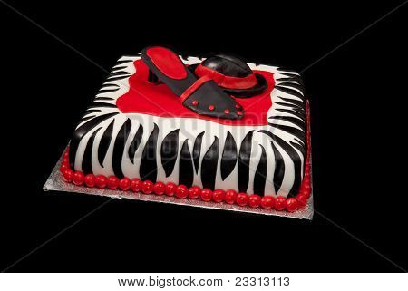 Hat And Shoe On Zebra-print Cake