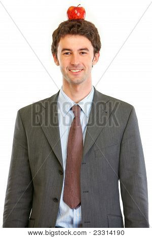 Modern Businessman With Apple On Head