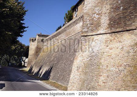wall of castle of corinaldo