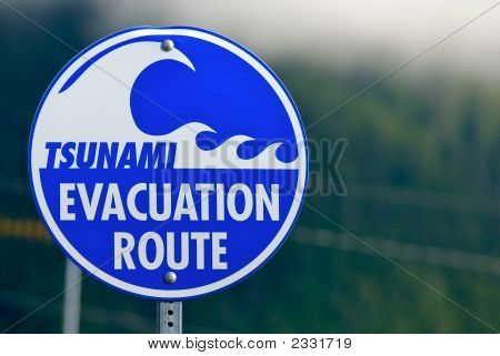Tsunami Warning Evacuation Sign