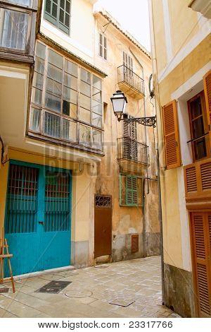 Palma de Mallorca old city Barrio Calatrava street in Balearic islands