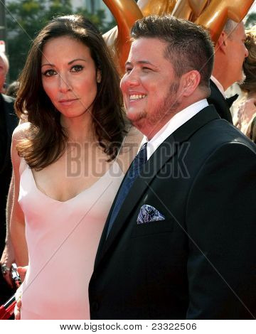 LOS ANGELES - SEP 10:  Jennifer Elia, Chaz Bono arriving at the Creative Arts Emmys 2011 at Nokia Theater  on September 10, 2011 in Los Angeles, CA