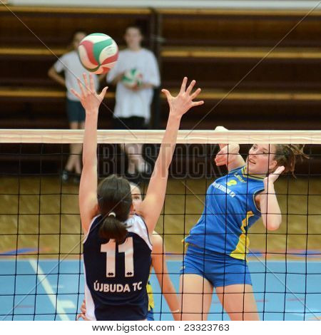 KAPOSVAR, HUNGARY - APRIL 24: Unidentified players in action at the Hungarian NB I. League woman volleyball game Kaposvar (blue) vs Ujbuda (black), April 24, 2011 in Kaposvar, Hungary.
