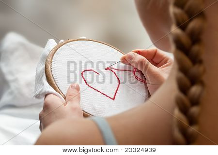 Embroidering Girl