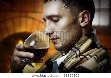 Taster. Man With Glass Of Brandy Or Cognac