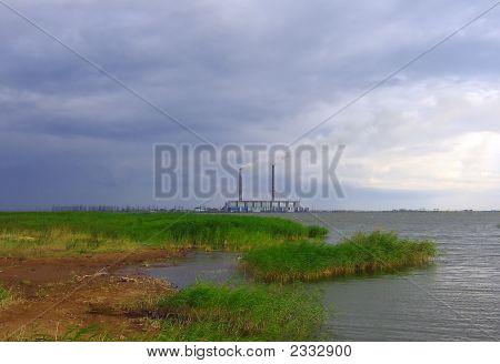 Ekibastuzskaja State District Power Station Before A Rain