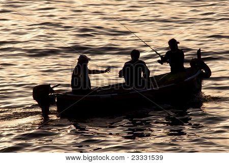 Fishing Men Silhouette