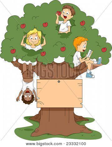 Ilustração de crianças brincando em uma árvore