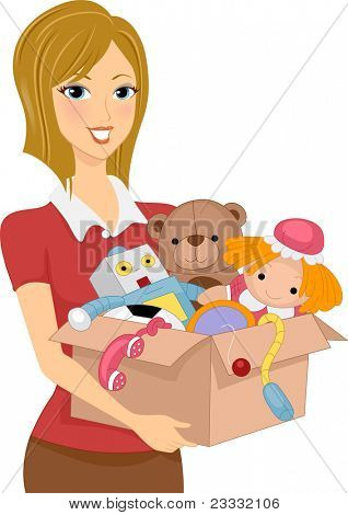 Illustration of a Girl Carrying a Box Full of Toys for Donation or Storage