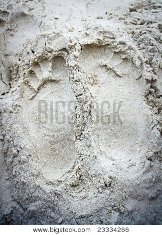 Footprint In The Sand Of Evening Beach