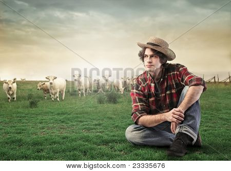 Countryman sitting on a green meadow with animals in the background