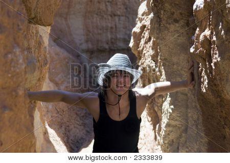 Paleontologist In Underground Cave