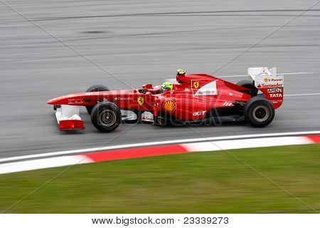 SEPANG, MALAYSIA - APRIL 8: Felipe Massa of the Scuderia Ferrari Team takes to the tracks on practice day of the Petronas Malaysian F1 Grand Prix on April 8, 2011 in Sepang, Malaysia.