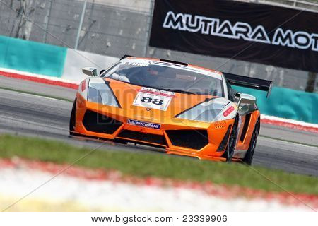 SEPANG - JUNE 17: Billy YS Fung in a Lamborghini LP560 GT3 takes to the tracks of the Sepang International Circuit at the GT Asia Series race on June 17, 2011 in Sepang, Malaysia.