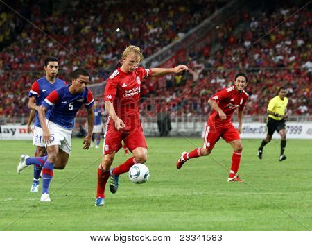 BUKIT JALIL, MALAYSIA - JULY 16: Liverpool's Dirk Kuyt tries a shot at goal against Malaysia in this game played at the National Stadium on July 16, 2011, Bukit Jalil, Malaysia. Liverpool won 6-3.