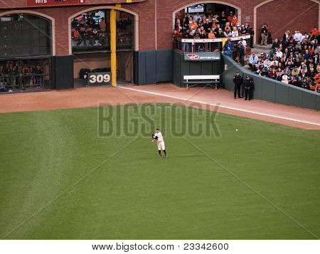 Outfielder Cody Ross Throws Ball To Warm Up Between Innings