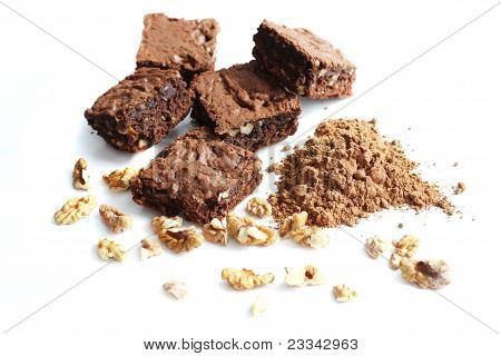 cocoa brownies and ingredients, isolated