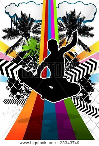 Summer Abstract Background Design With Skateboarder Silhouette. Vector Illustration.