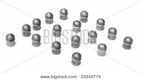 Close up of airgun bullets