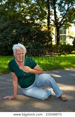 Senior Woman With Stroke In Park
