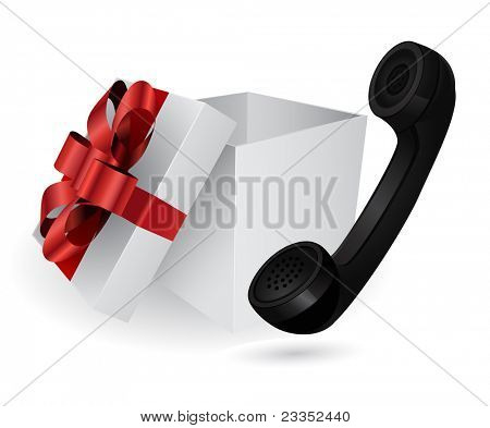 gift box with retro phone
