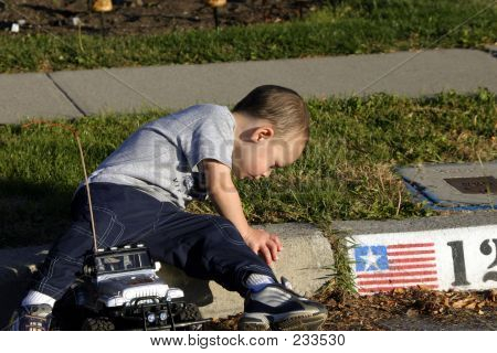 Little Boy Looking At The Ants