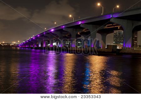Miami Bridge Lit In Purple