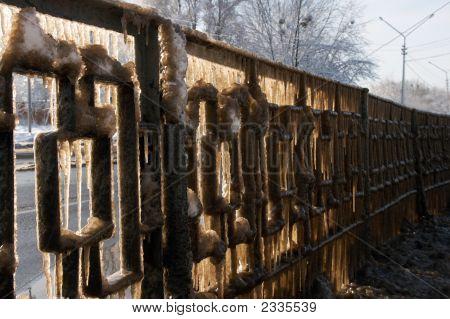 Winter Highway Guardrail