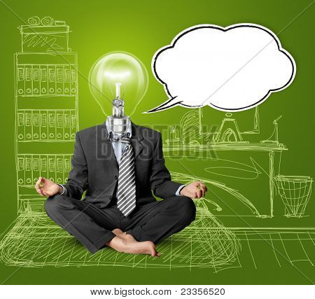 lamp-head businessman in lotus pose with speech bubble, meditating at the office