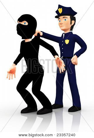 3D police officer arresting a thief ? isolated over a white background