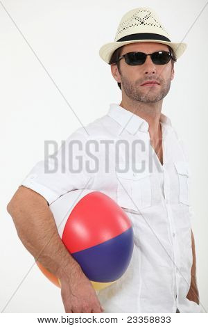 Man with a beach ball