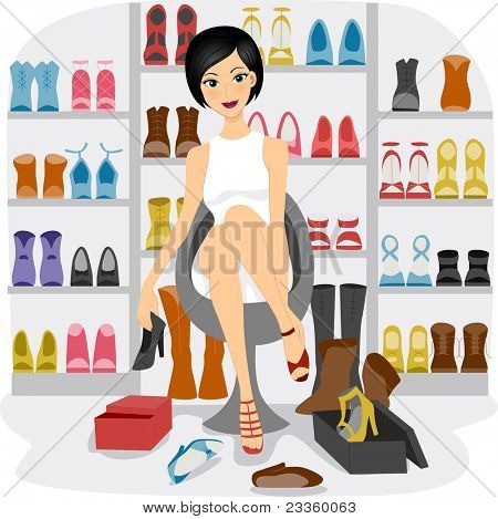 Illustration of a Girl Fitting Shoes in her Shoe Closet or a Shoe store