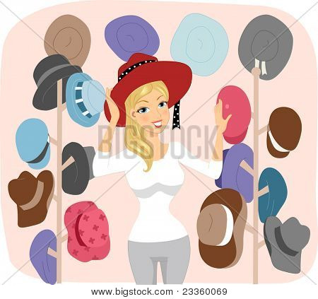 Illustration of a Woman in a Hat Shop