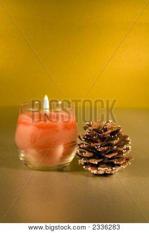Christmas Decorations With Lit Candle