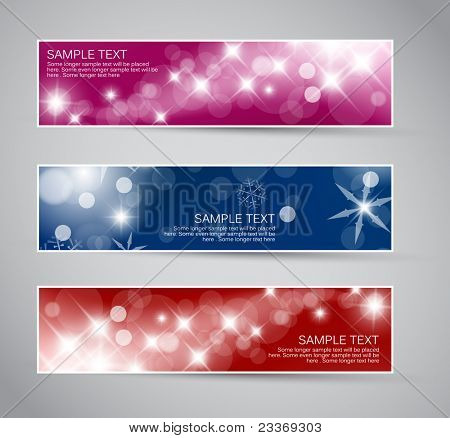 Set of vector christmas / New Year horizontal banners 2012