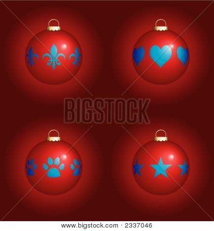 Christmas Ornaments On Red Background Vector Illustration