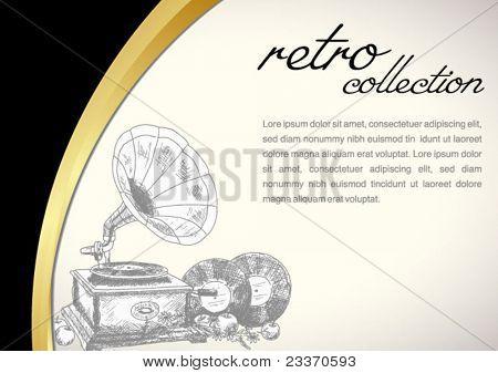 Vintage gramophone - original hand-drawn illustration