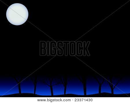 Creepy trees under full moon vector background