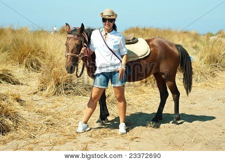 Woman With Brown Horse