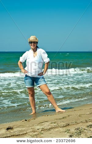 Cheerful Woman On The Beach