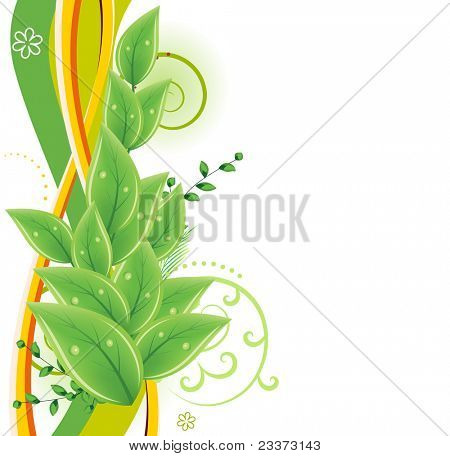 Abstract green floral background with fresh leaves. Raster version.