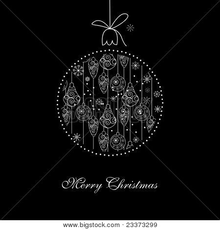 Black and White Christmas illustration with ball. Raster version..
