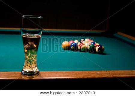 Glass Of Beer On The Pool Table