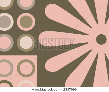 Retro Pink And Brown Circles And Flowers Collage