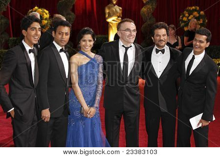 LOS ANGELES - FEB 22: Actors Dev Patel, Irrfan Khan and Freida Pinto, director Danny B at the 81st Annual Academy Awards - Oscar Arrivals in Los Angeles, California on February 22, 2009