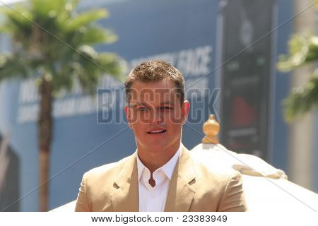 LOS ANGELES - JULY 25: Matt Damon at a ceremony where Matt Damon is honored with the 2,343rd star on the 'Hollywood Walk of Fame' on 25 July 2007 in Los Angeles, California