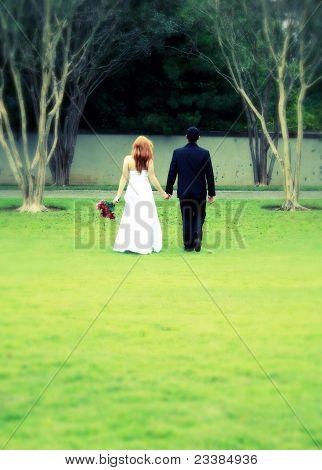 Bride And Groom Walking Away, Cross Process, Blur